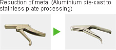 Reduction of metal (Aluminium die-cast to stainless plate processing)