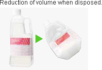 Reduction of volume when disposed.