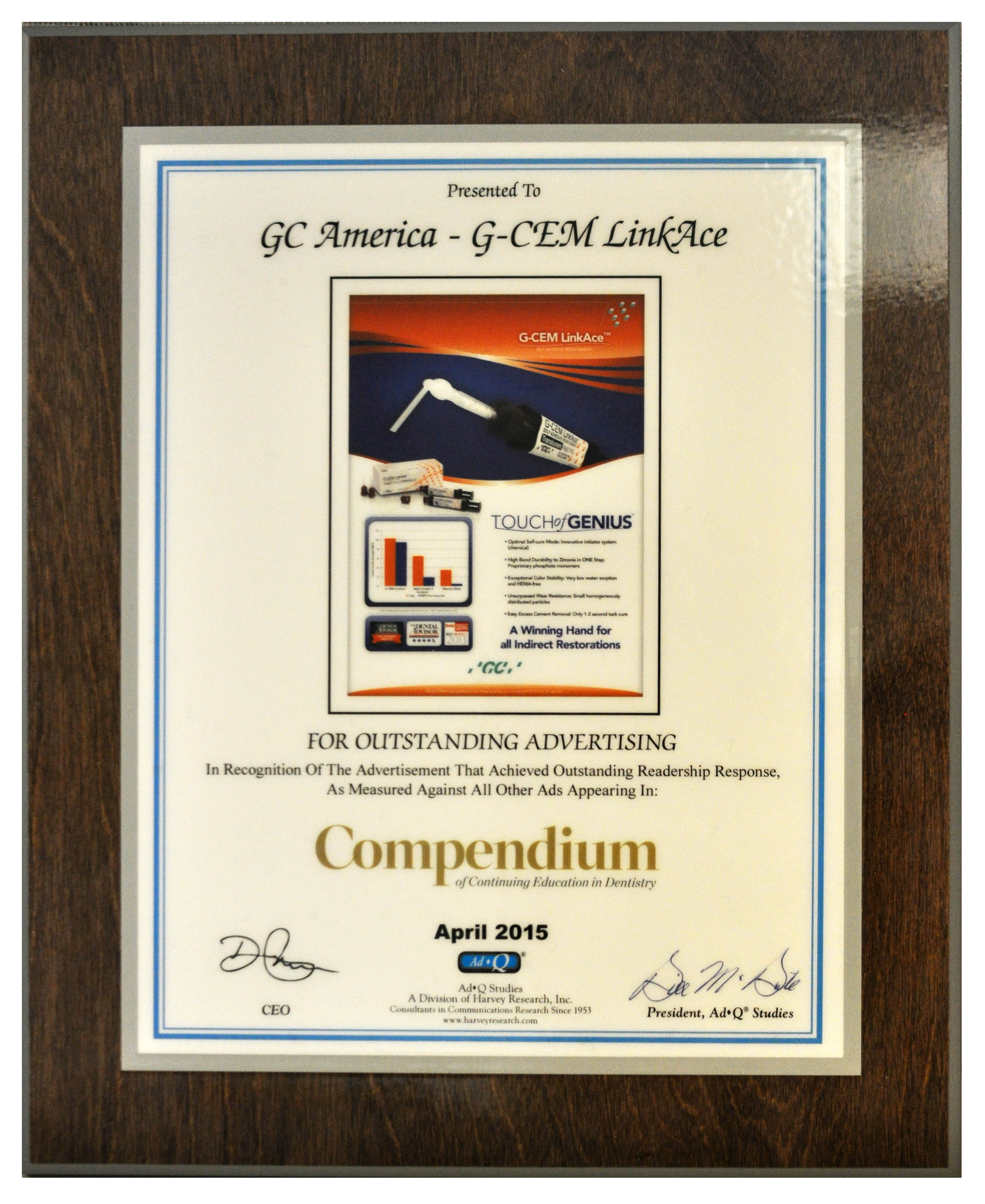 Gc america company news outstanding advertising the ad featuring g cem linkace received the award in recognition of the advertisement that achieved outstanding readership xflitez Gallery